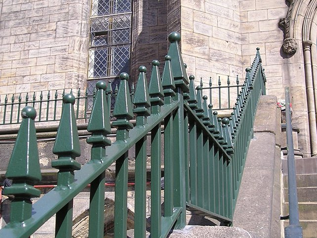 galvanized and powder coated mild steel decorative Churchill railings which are complaint to BS 1722 Part 9.
