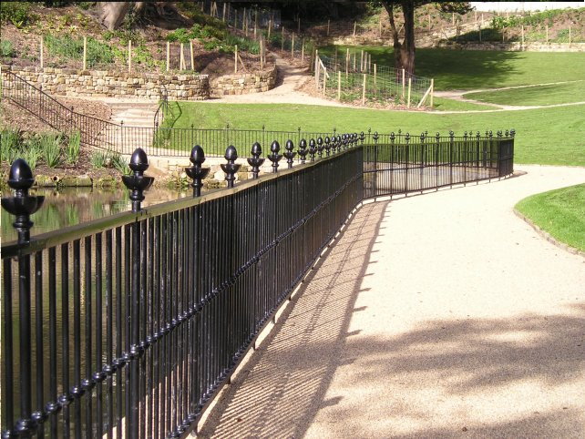galvanized and powder coated mild steel Optirail pedestrian guardrail to BS 729
