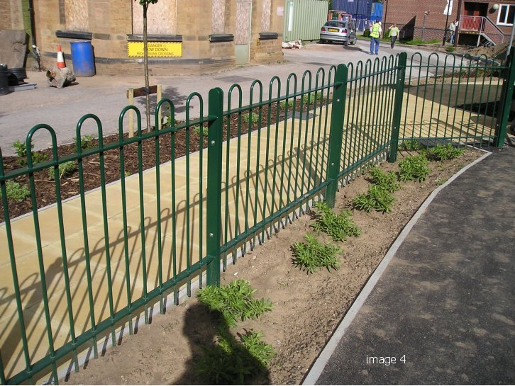 Mild steel galvanised and powder coated bow top railings