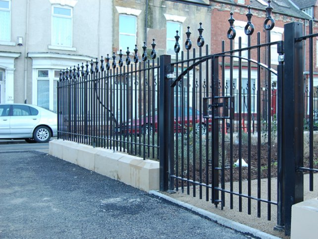 galvanized and powder coated mild steel decorative railings and gates which are complaint to BS 1722 Part 9.
