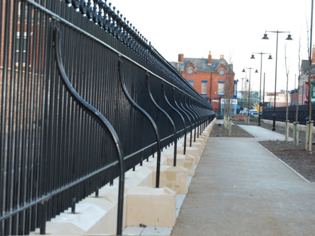 galvanized and powder coated mild steel decorative railings which are complaint to BS 1722 Part 9.
