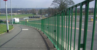 galvanized and polyester powder coated Optirail Pedestrian Guardrail with see through posts to BS 7818