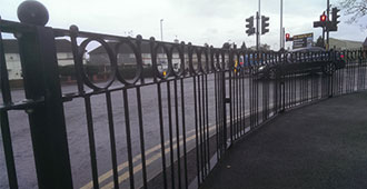 galvanized and polyester powder coated decorative ringed railings complete with see through post and spheres to BS7818