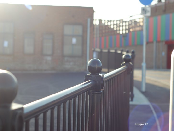 mild steel galvanized and powder coated decorative pedestrian guardrail
