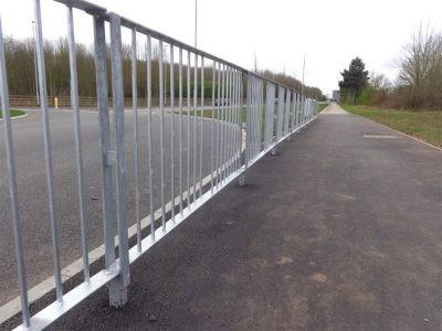 Galvanised Optirail pedestrian guardrail