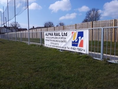 Sports pitch perimeter guardrail