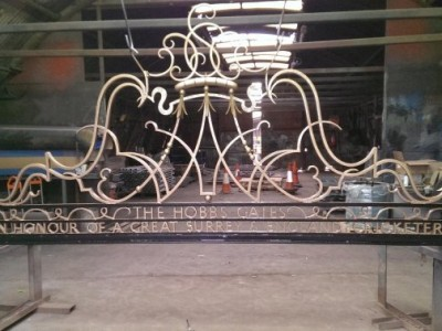 Decorative metal feature removed and restored from the Jack Hobbs Memorial Gates at The Kia Oval Cricket Ground, Surrey