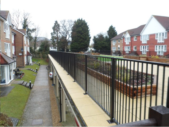 galvanized and polyester powder coated mild steel flat top railings which are compliant to BS 1722 Part 9