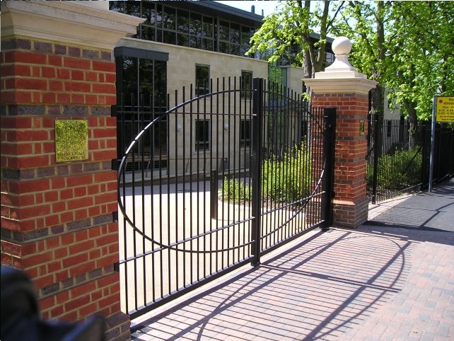 galvanized and powder coated mild steel vertical bar railings and sliding gates which are complaint to BS 1722 Part 9.