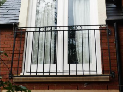 galvanized and powder coated mild steel Rufford Juliette Balcony compliant with Building Regulations.