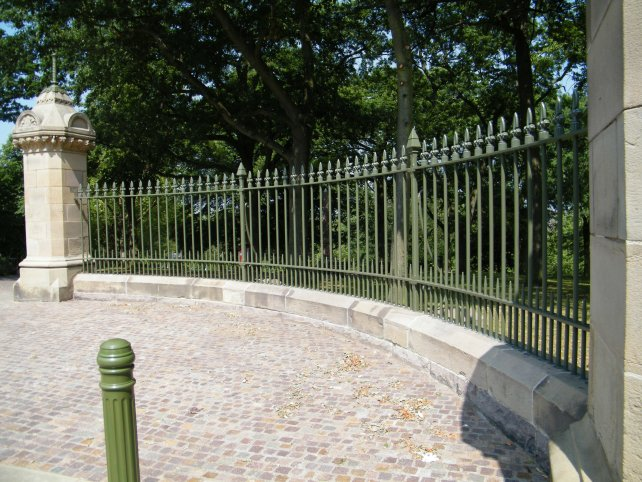 galvanized and powder coated mild steel decorative railings to entrance which are complaint to BS 1722 Part 9.