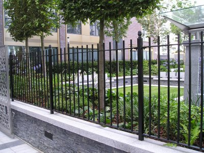 galvanized and powder coated mild steel vertical bar railings to BS 1722 Part 9.