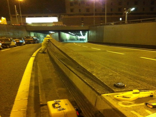 Site surveying team in action on night shift during the closure of the A38 Aston Express Way