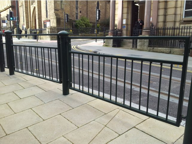 Mild steel galvanised and powder coated decorative pedestrian guardrail