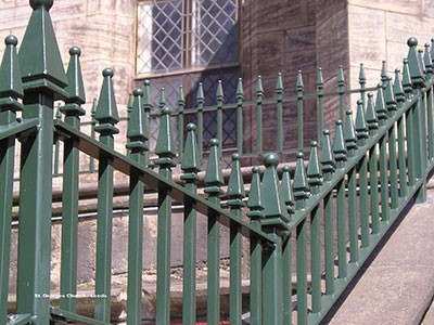 Galvanised and polyester powder coated mild steel vertical bar railings