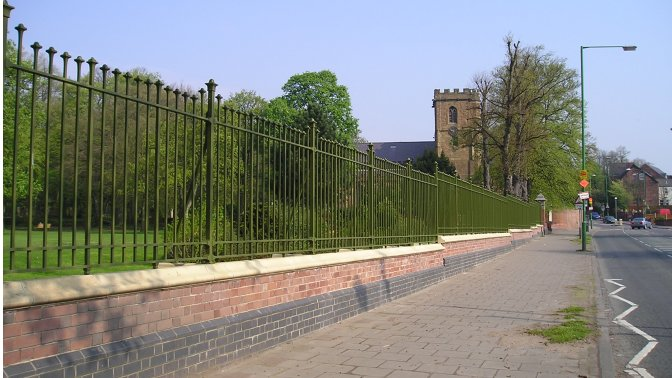 decorative vertical bar railings, mild steel, galvanized and powder coated to park boundary