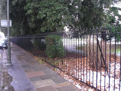 decorative vertical bar railings, mild steel, galvanized and powder to park boundary