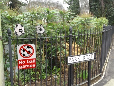 Alpha Rail metal railings prevent ball games in park
