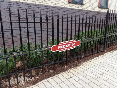 galvanized and powder coated mild steel vertical bar 'westminster' style railings complete with plaque