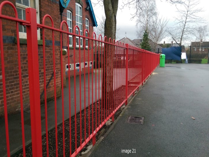 galvanized and powder coated mild steel Play spec bow top railings