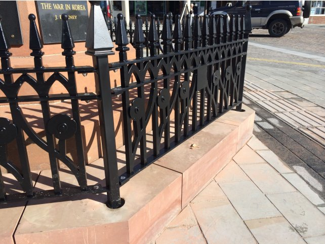 Galvanised and powder coated memorial railings
