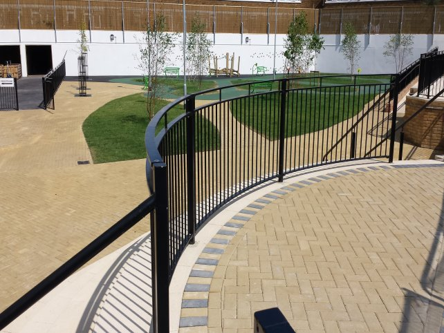 Galvanised and powder coated balustrade with handrails