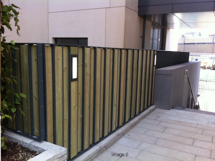 Galvanized and powder coated flat bar infill railings with timber slats