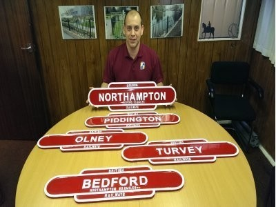 Neil Mason with Railway Signs