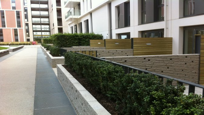 Decorative flat top railings with timber overlay