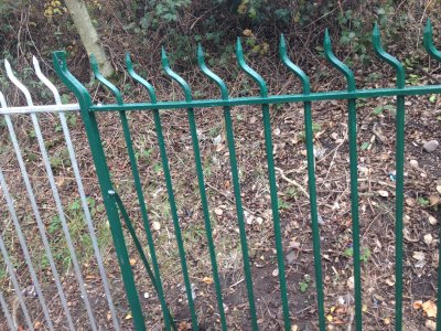 Mild steel galvanized and powde coated 'Swan Neck' Railings