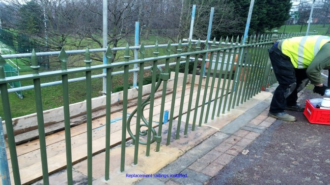 New railings replaced where accident damage was