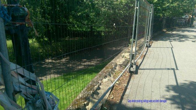 gap where railings were damaged