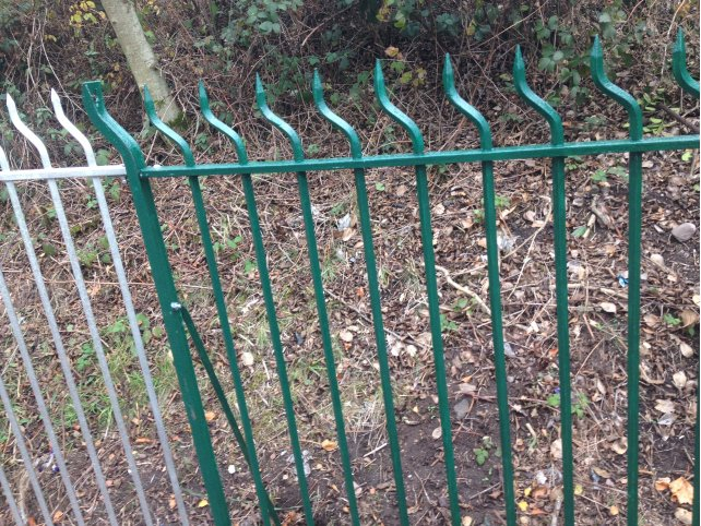 galvanized and powder coated mild steel 'Swan Neck' Railings