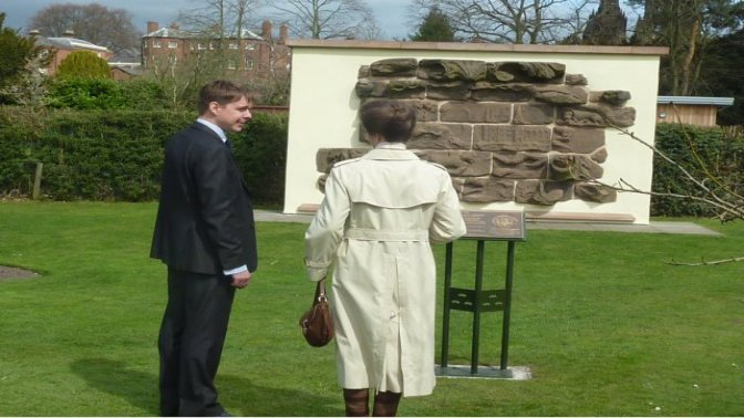 Princess Ann opening Plaque at Beacon Park, Lichfield