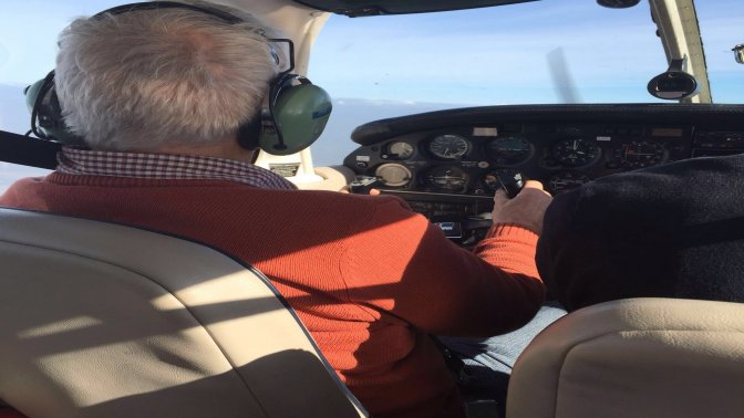 Retiree flying lesson