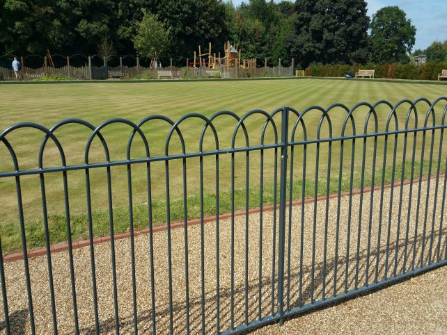 interlaced bow Top railings and gate mild steel galvanized and powder coated