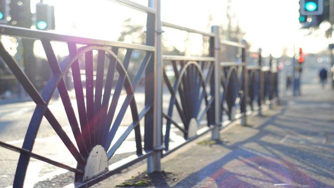 Bespoke decorative Pedestrian mild steel pedestrian guardrail with stainless steel posts