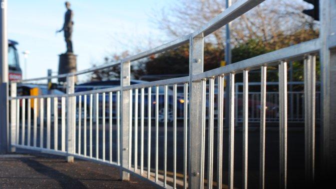 standard galvanized pedestrian guardrail