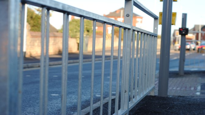 galvanized pedestrian guardrail