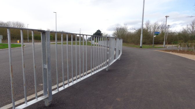 optirail high visibility pedestrian guardrail installed at harrier Park Hucknall