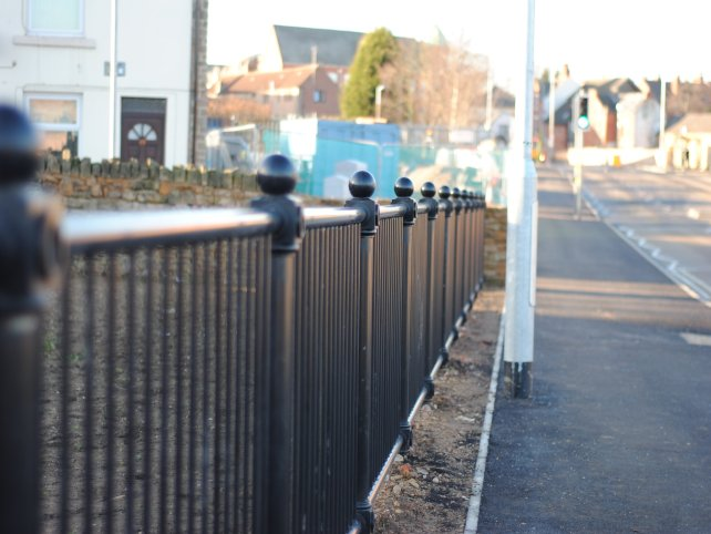 decorative pedestrian guardrail galvanized and powder coated