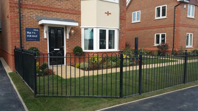 mild steel decorative bow top railings galvanized and powder coated