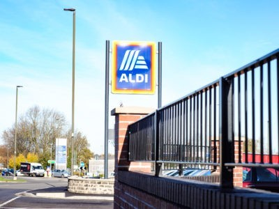 Flat top metal railings Aldi Clay Cross Derbyshire