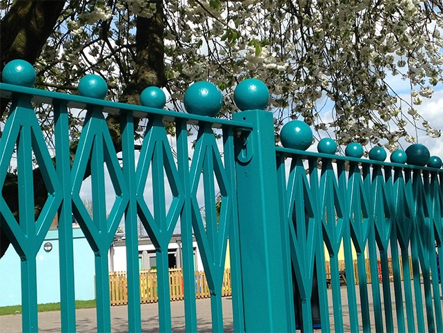Metal railings and gate at Windy Arbor school