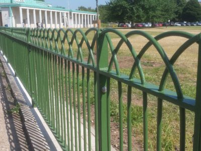 Bow top metal railings installed at Highfields Park