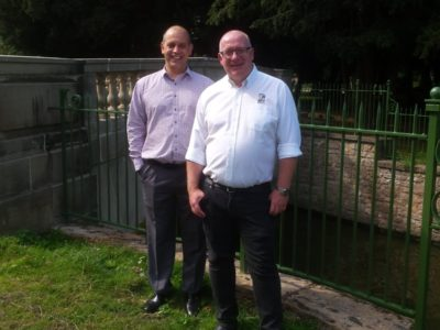 Neil Mason and Paul Johnson at Highfields Park Restoration Project Re-opening on 31 August 2018