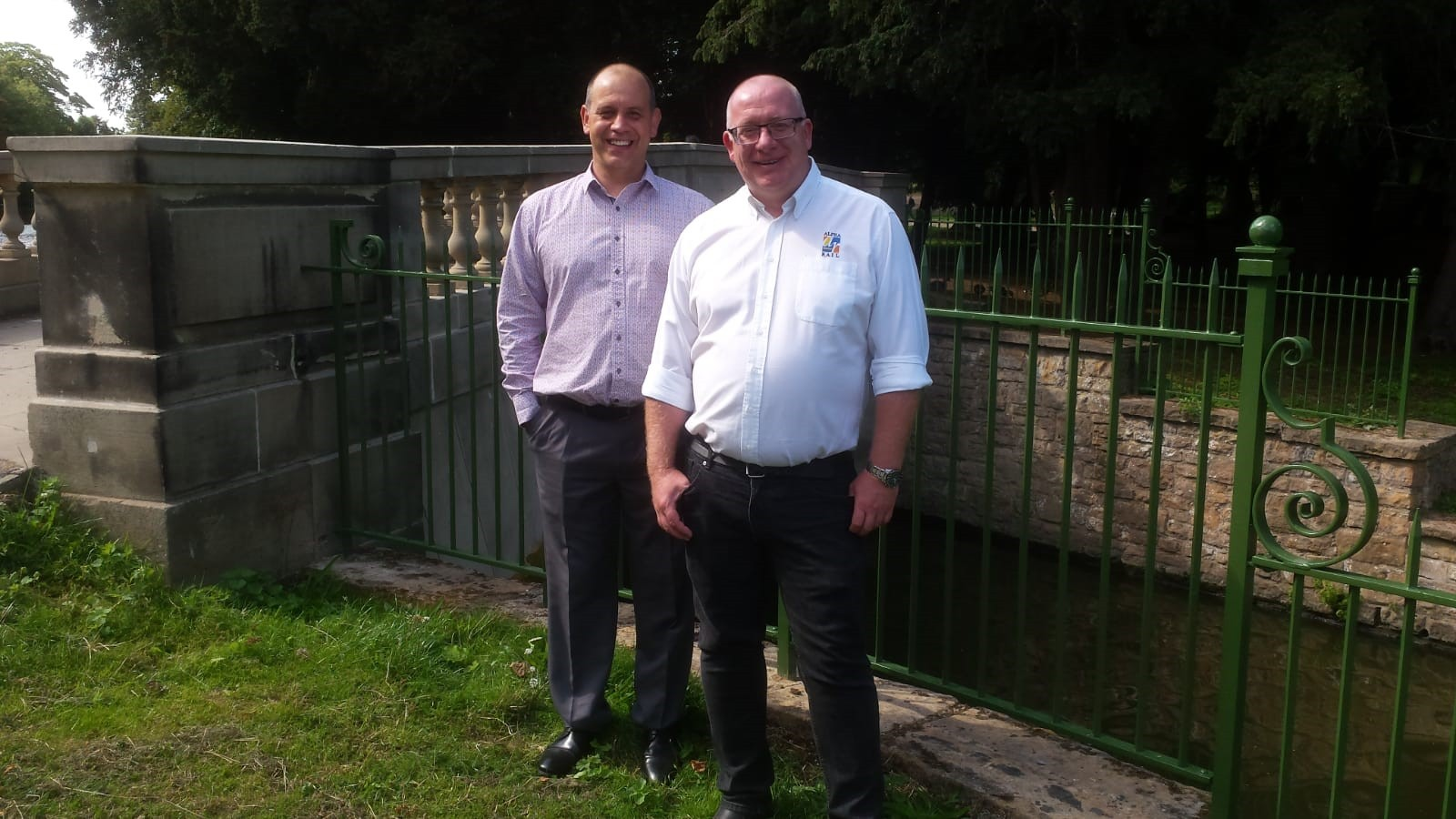 Neil Mason and Paul Johnson at Highfields Park Restoration Project re-opning on 31 August 2018