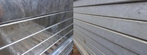 Freshly galvanised pedestrian guardrail vs zinc patina