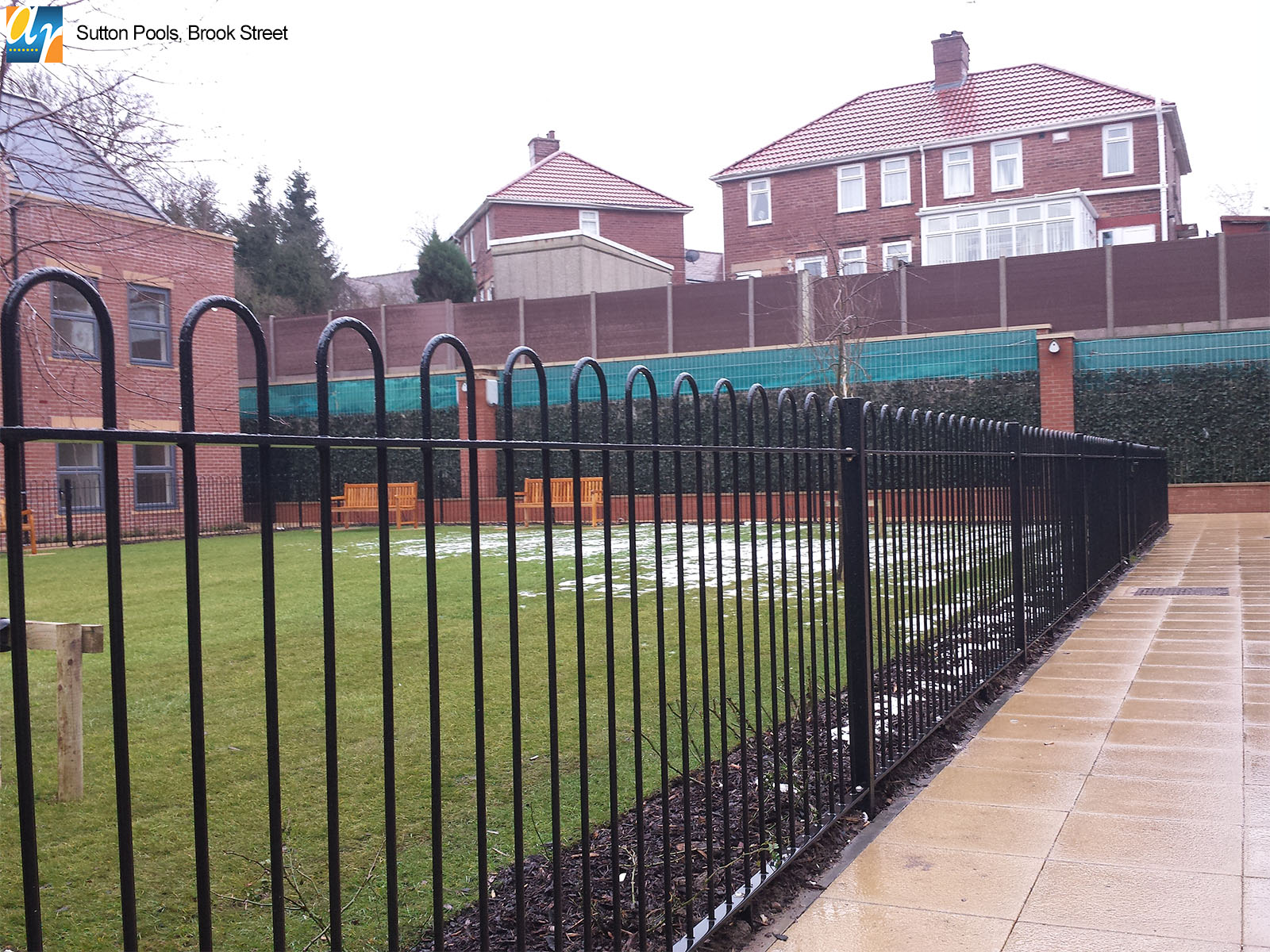 Galvanised and polyester powder coated bow top railings