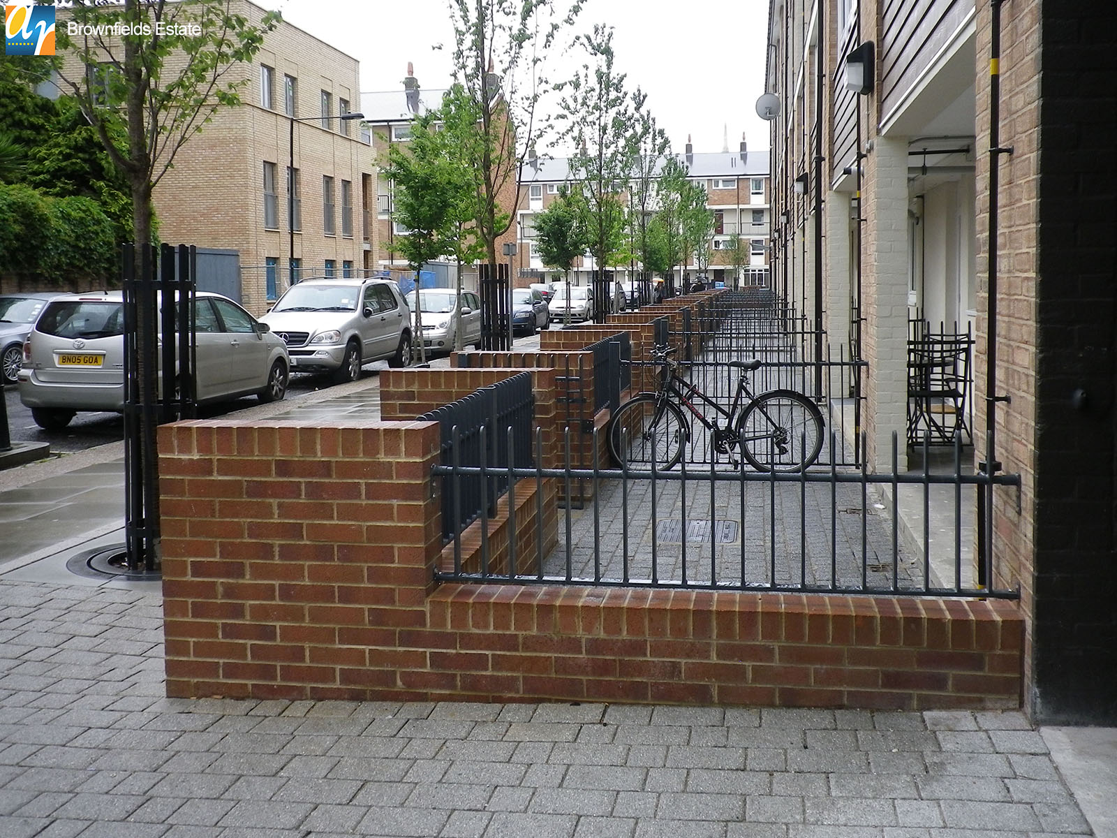 Brownfields estate flat bar infill railings